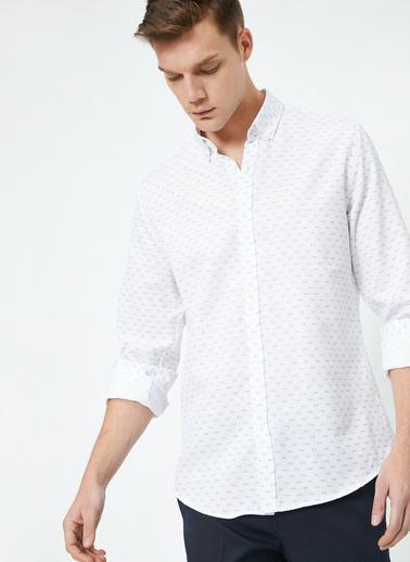 Koton Tek Cepli Uzun Kollu Desenli Gömlek Beyaz